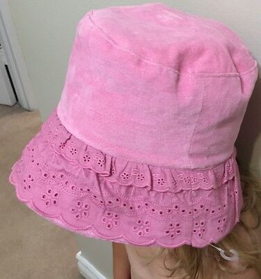 Child Girl Roots Brand Eyelet Tilley Hat Chin Strap Pink New L/XL 2-4 Yrs Spring
