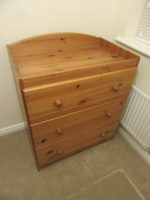 Mothercare pine changing unit with 3 deep drawers