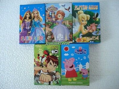 Children Poker Ben 10 Disney Sofia Barbie Princess Tinkerbell Kids Playing Cards