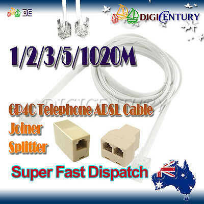 White 6P4C RJ11 RJ12 Cross over Telephone ADSL2+ Cord Cable 1/2/3/5/10m/ Joiner