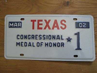 "Texas Congressional Medal Of Honor 2002 ""Number 1"" License plate TOP rare"