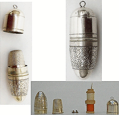 Antique Silver Plated Chatelaine Sewing Kit w/Thimble,Spools & Needles Case 1900
