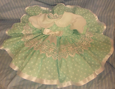 Dream Spanish Mint Spot Lined Netted Dress Newborn  0-3 Months Baby Reborn Dolls