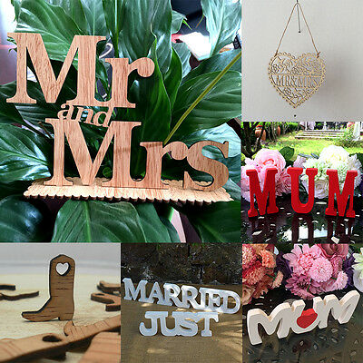 1/3/4/10/50pc Wood Letters Wedding Party Prom Standing Decor Photography Props