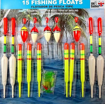 15 New Pole Fishing Float Set Assorted Sizes Selection Kit Course With Rubbers