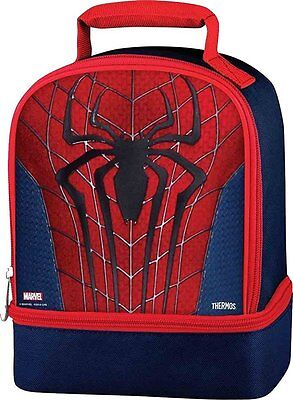 Spiderman Lunch Tote Bag Box Kit By Thermos Dual Compartments New