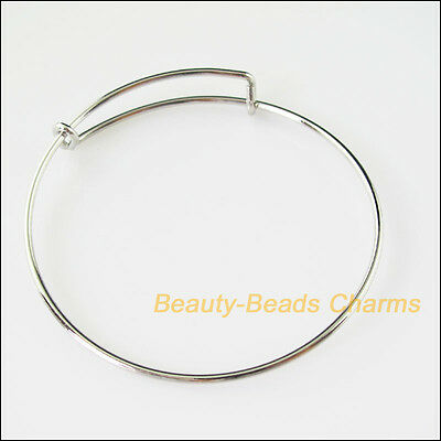 1 Dull Silver Plated Expandable Wire Bangle Bracelet Connector Charms Adjustable