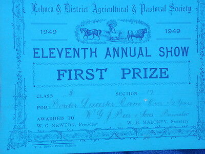 "Three""  Echuca  Show  Prize Cards 1949"