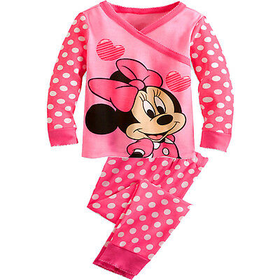 New Girl Pyjamas Sleepwear PJs Minnie Mouse Size 3 4,5,6,7,8,9,10 years Cotton