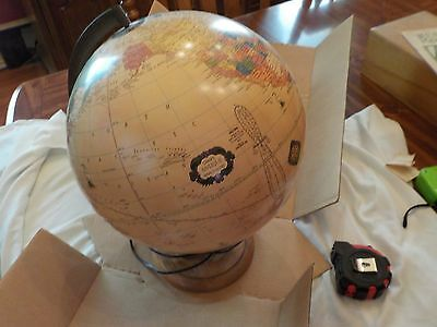 Vintage Mid Century Rand McNally Lighted World Globe-12 in.