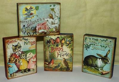 Set of 4 Vintage Inspired Wooden Blocks~Baby Nursery Decor~Storybook Pictures