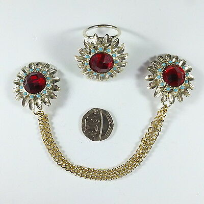 Fab Vintage Daisy Double Clip Cloak or Cardigan Clasp and Matching Scarf Clip