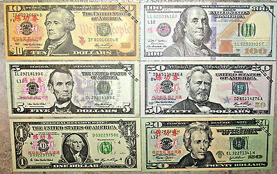 60 Assorted! - Best Movie Prop Money! - Fake Prank! - Looks Real! - w/New 100!>>