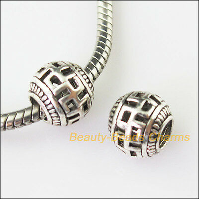 5Pcs Antiqued Silver Round 4.5mm Hole Beads fit European Charms Bracelets 10.5mm