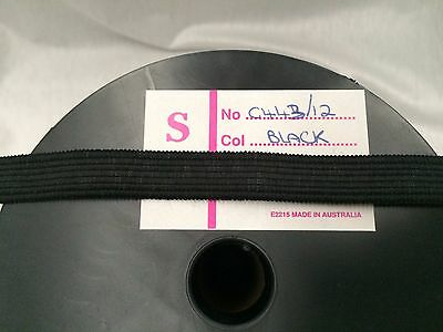10 METRES X 12mm BLACK KNITTED ELASTIC  : #MD05
