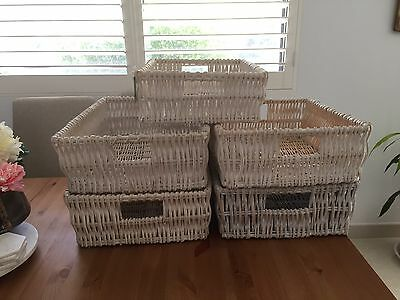 Shabby Chic Rectangular White Rattan Cane Baskets