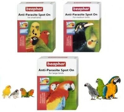 Beaphar Anti Parasite Spot On for Small Medium Large Caged Birds Bird Spot On