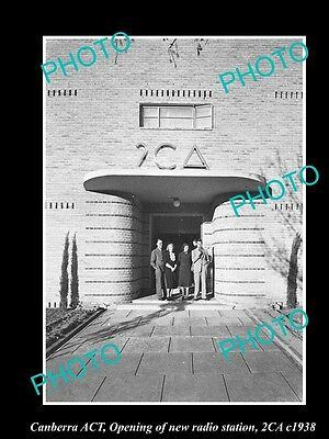 Old Large Historic Photo Of Canberra Act, Opening Of The 2Ca Radio Station 1938