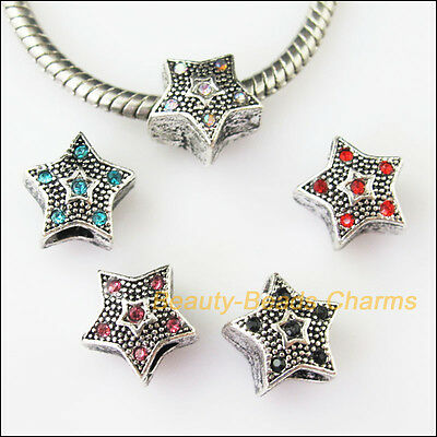 5Pcs Mixed Crystal Star 4.5mm Hole Beads fit European Charms Bracelets 12mm