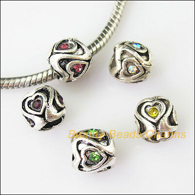 5Pcs Mixed Crystal Round Heart 5mm Hole Beads fit European Charms Bracelets 10mm