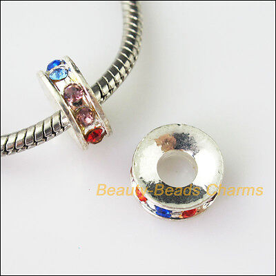 2Pcs Colored Crystal Round Flat 5mm Hole Beads fit European Charms Bracelet 12mm