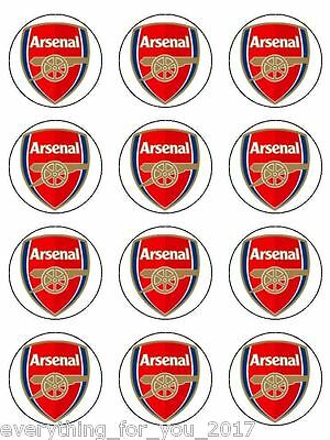 """Arsenal Edible Icing, Cup Cake Toppers 12 x 2"""""""