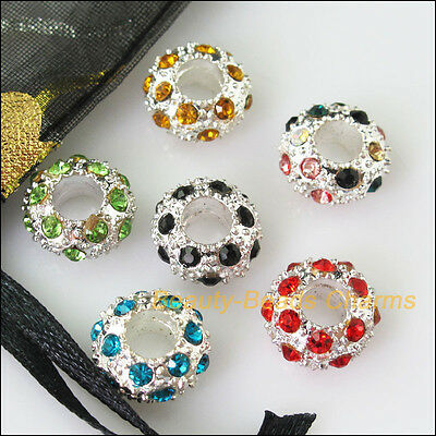 5Pcs Mixed Crystal Round Flat 5mm Hole Beads fit European Charms Bracelets 12mm