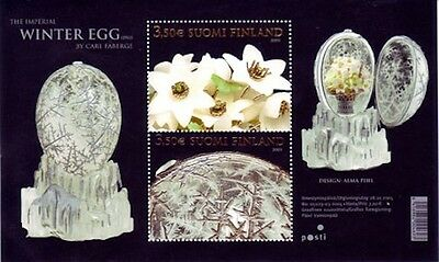 Imperial Winter Faberge Egg Finland Stamp Minisheet Unusual  Silver Embossed MNH