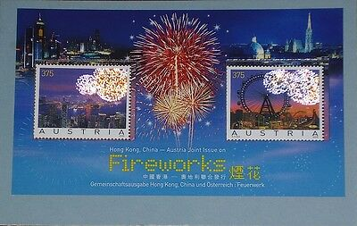 Hong Kong-Austria Joint Fireworks Swarovski Crystals Stamps with COA
