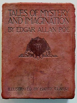 1919 TALES of MYSTERY AND IMAGINATION by POE; H. Clarke Illustrations, LEATHER