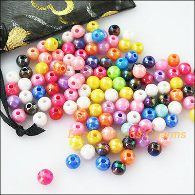 100Pcs Mixed Plastic Acrylic AB Round Ball Charms Spacer Beads 8mm