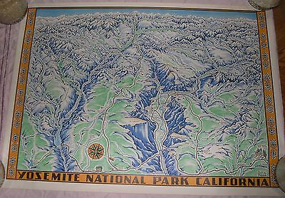 Original Lithograph  Della Hoss Yosemite map 1955 - Great Shape !!