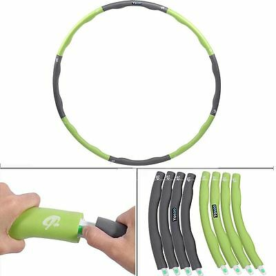 High Density Foam Weighted Foam Padded ABS Hula Hoop 8 Section 100CM Green+Gray