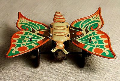VERY RARE VINTAGE / ANTIQUE  U.S. ZONE GERMANY WIND-UP TIN BUTTERFLY WORKS 1940s
