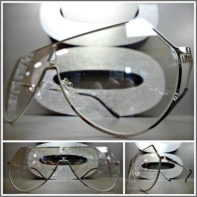 VINTAGE RETRO SHIELD Style SUN GLASSES Silver Frame Clear Lens with Mirror Tint