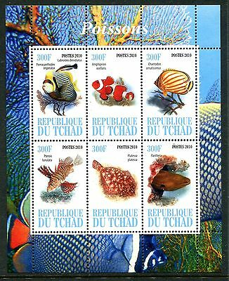 Chad 2010 Wild Fishes Marine Life MS MNH