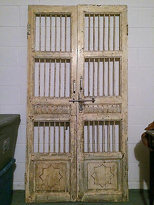 "76"" Antique Pair Iron Wood Rustic Doors Shutters Architectural Decorator Heavy"