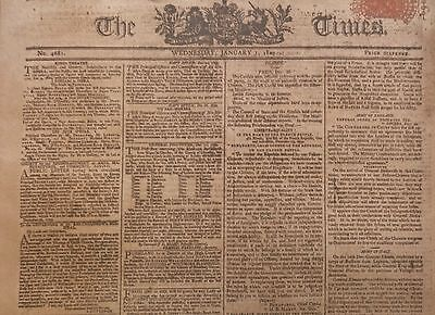 1-1800 January 1 LONDON TIMES - REVIEW OF 1799 BY MONTH ADVERTS ARTICLES FRANCE