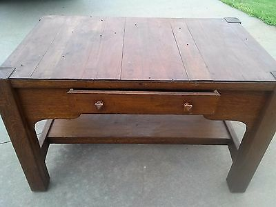 Old Oak Mission Library Table / Desk / Bookcase / Drafting / Vintage