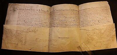 KING LOUIS XIII AUTOGRAPH on Large Parchment Document - 1625