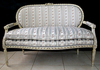 Superb Louis Xvi French Ribbon Back Love Seat Antique Ornate Carved Settee Chic