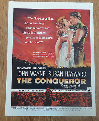 1956 Movie Ad John Wayne Susan Hayward in Howard Hughes  THE CONQUEROR