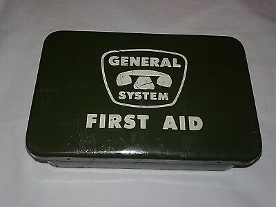 Vintage Green General System First Aid Kit Collectible Original Bandages,Scissor