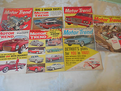 lot of 7 Vintage Motor Trend Magazines 1959