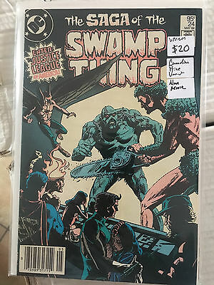 SAGA OF THE SWAMP THING #24 VF/NM 1st Print CANADIAN PRICE VARIANT Alan Moore