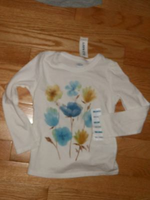 NWT - Old Navy long sleeved white, blue & yellow flowered top - 3T girls