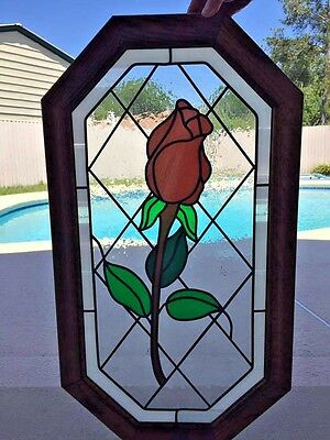 Large Stained Glass Window Rose Design On Wood Frame