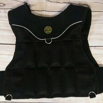 Golds Gym 15lb Weighted Vest with reflective stripe, capacity for 20 workout run