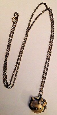 Kitty head watch on chain necklace