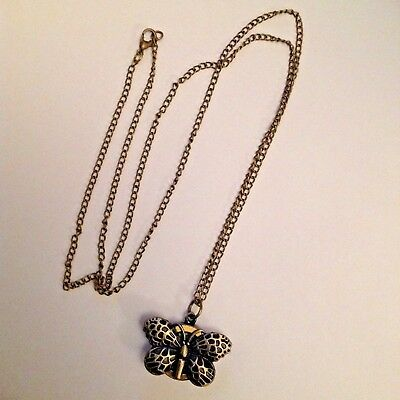 Butterfly watch on chain necklace